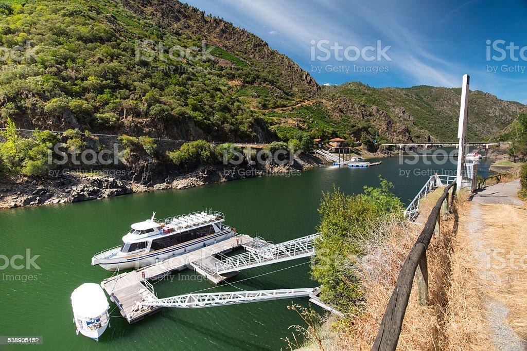 Boat trip on Rio Sil, Galicia stock photo