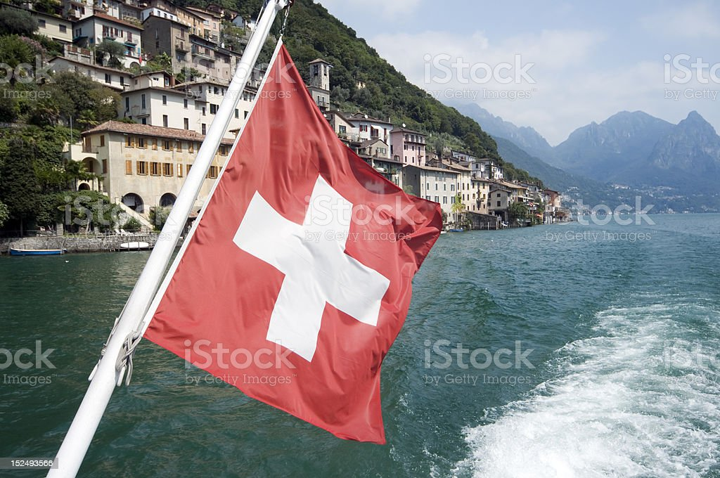 Boat trip on th lake of Lugano royalty-free stock photo
