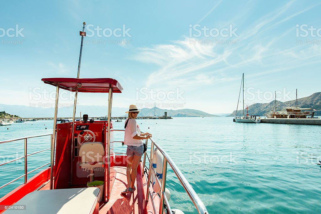Boat trip on the sea stock photo