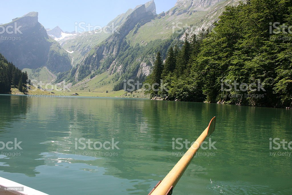 Boat Trip on the Seealpsee stock photo