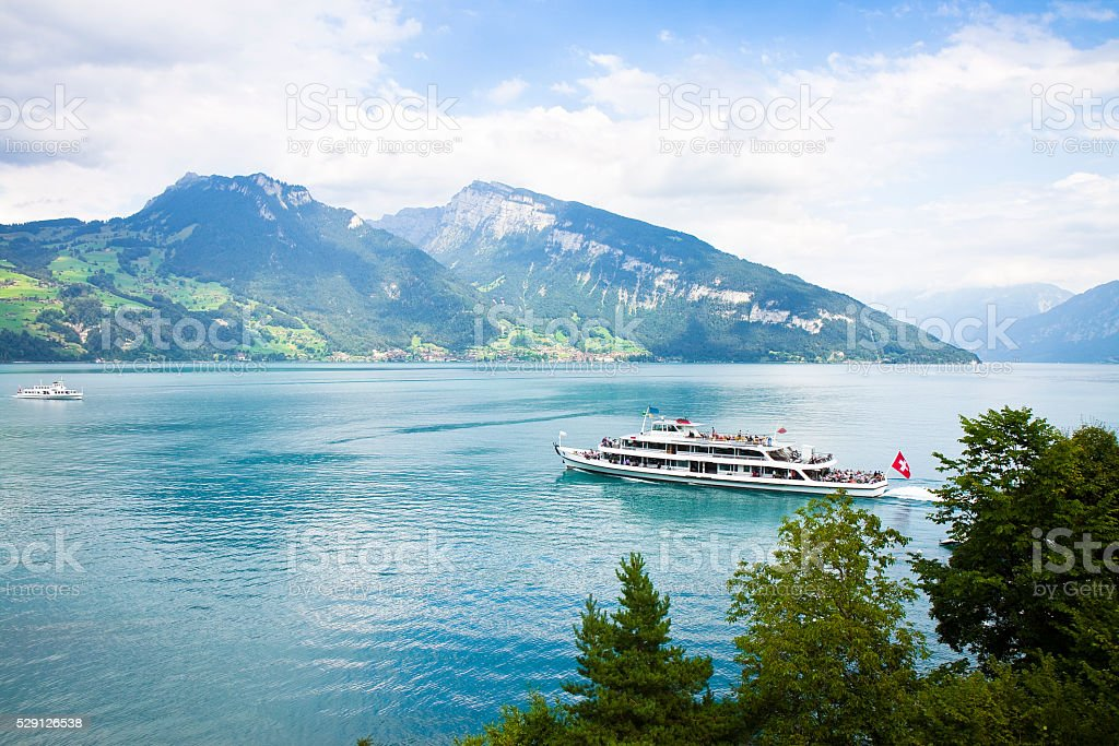 Boat trip on Thun lake - (Switzerland) stock photo