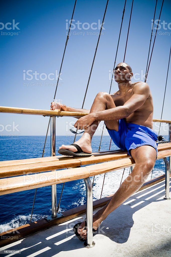 Boat Trip Relaxing in the Summer Sun royalty-free stock photo