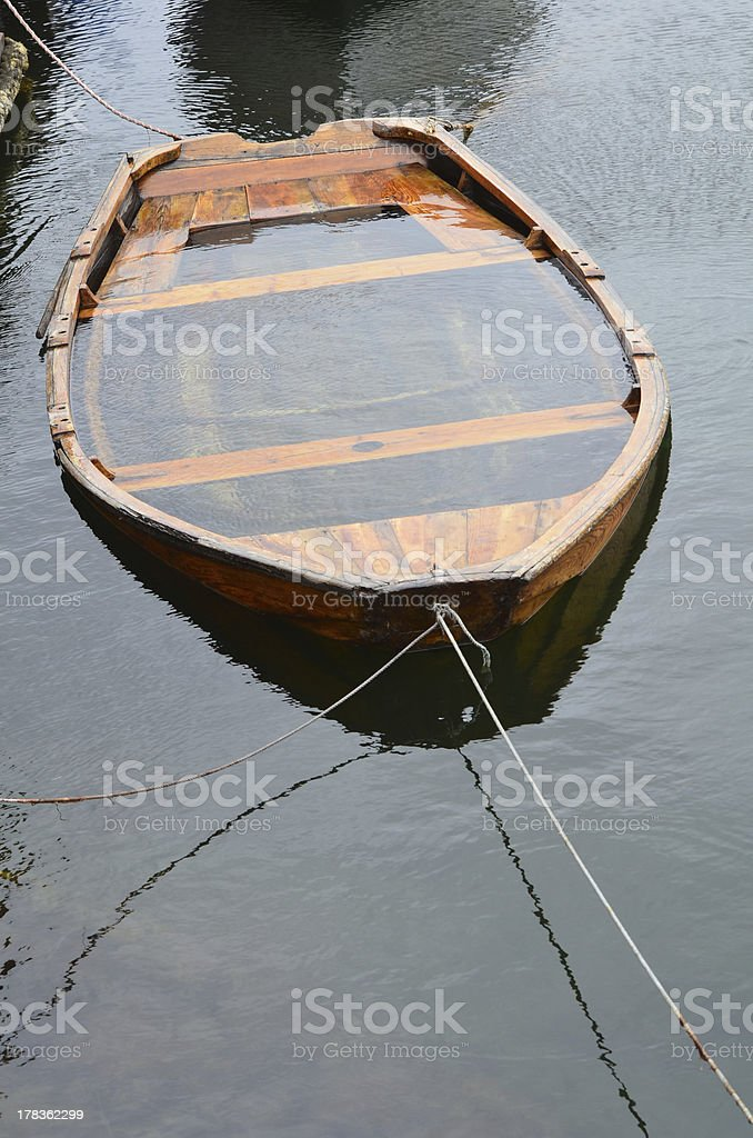Boat under water stock photo