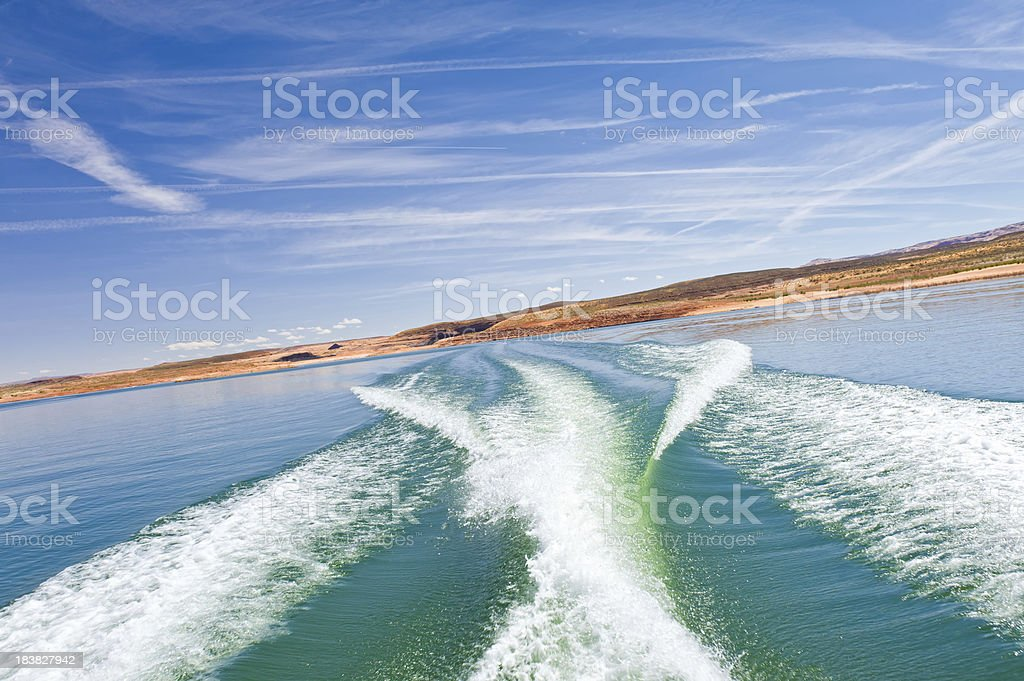 Boat Wake Lake Powell Utah royalty-free stock photo