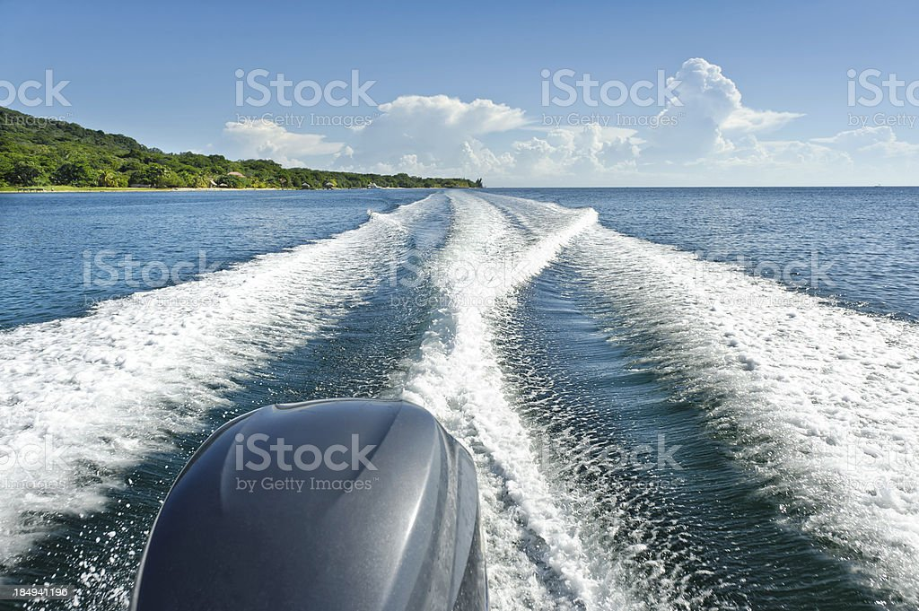 Boat Wake on Blue Caribbean royalty-free stock photo