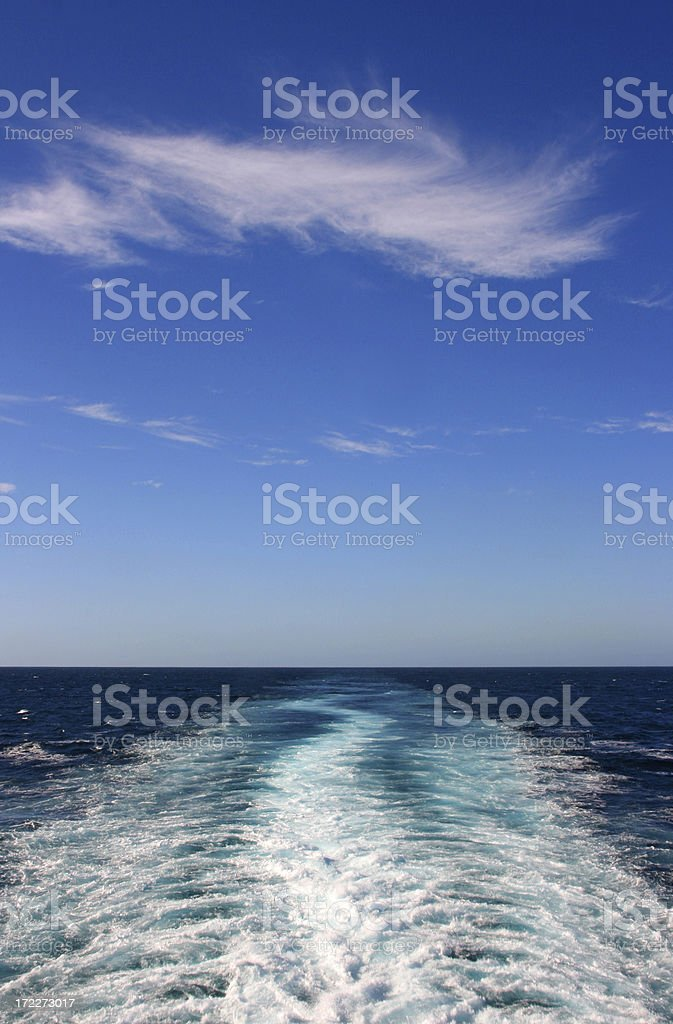 Boat Wake with Blue Sky royalty-free stock photo