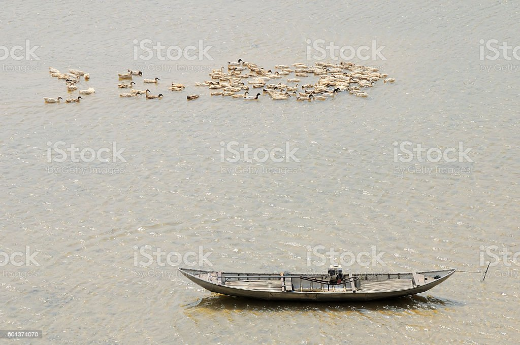 Boat wharf at Tra Khuc, Quang Nam, Danang, Vietnam stock photo