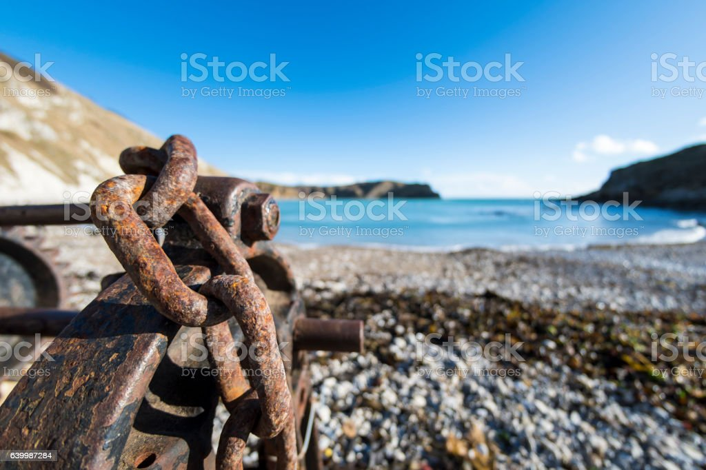 Boat Winch Chains at Lulworth Cove stock photo