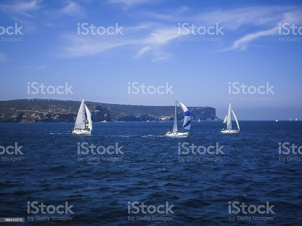 boat with deep blue sea royalty-free stock photo