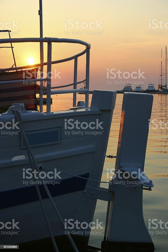 Boat with giant rudder royalty-free stock photo