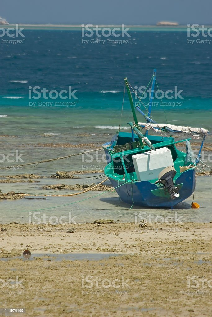 Boat with low tide royalty-free stock photo
