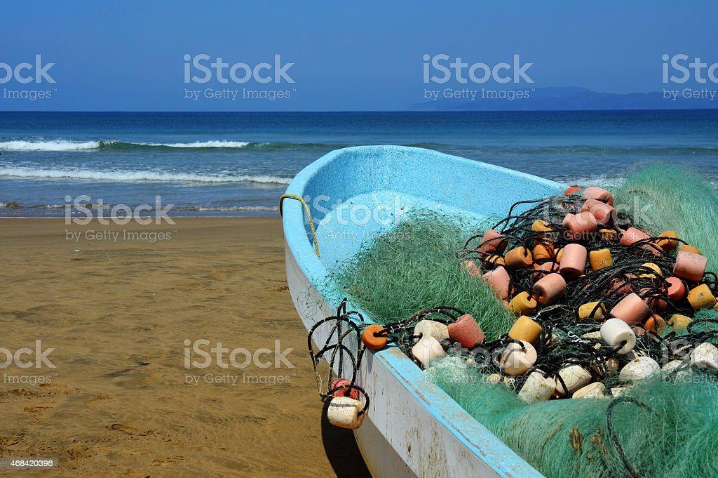 Лодка с Nets Стоковые фото Стоковая фотография