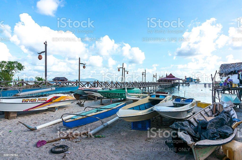 Boat workshop stock photo