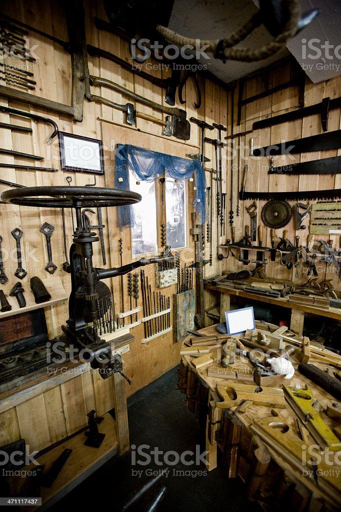 Boatbuilder Carpenter Workshop royalty-free stock photo