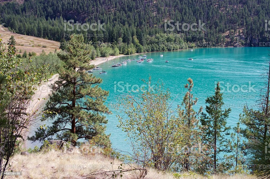 Boaters in Cosens Bay, Kalamalka Lake Provincial Park, Vernon, Canada stock photo
