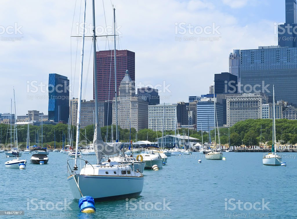 Boater's view of Chicago skyline stock photo