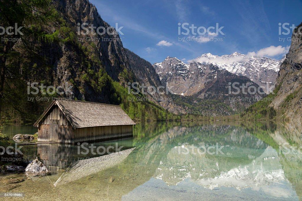 Boathous in Lake Obersee stock photo