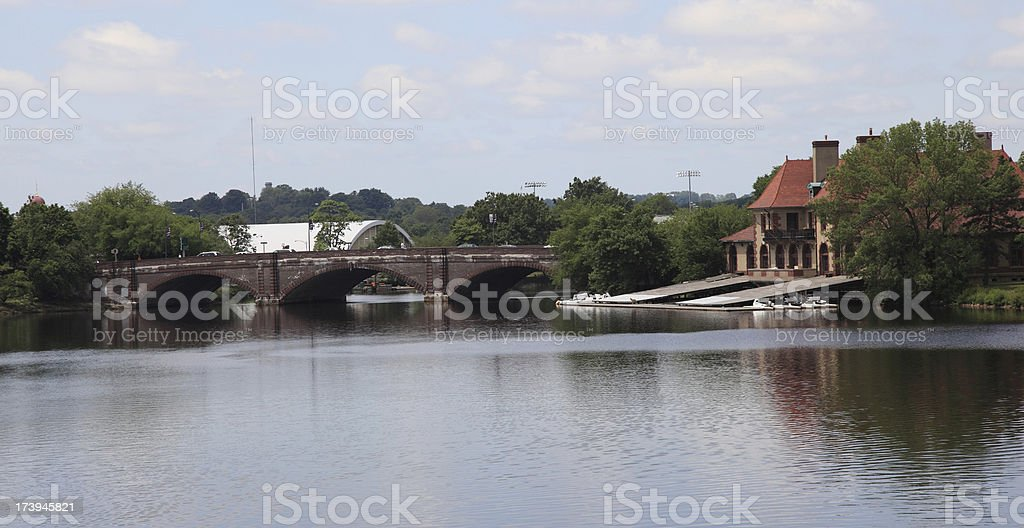 Boathouse and Bridge royalty-free stock photo