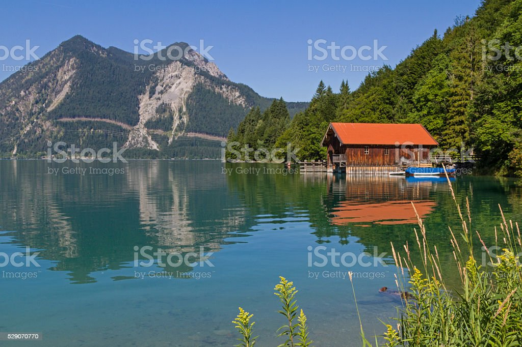 boathouse at lake Walchensee stock photo