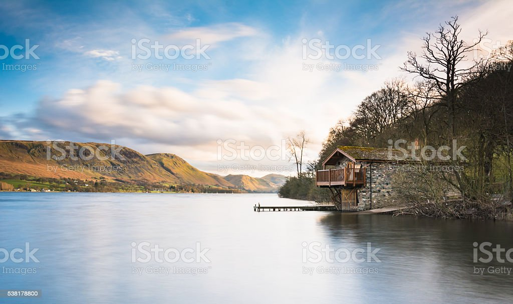 Boathouse at the top of Lake Ullswater stock photo
