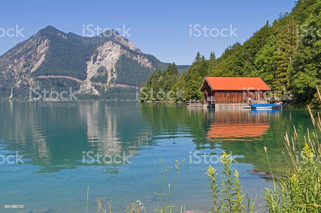 boathouse at Walchensee stock photo