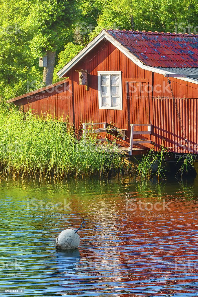 Boathouse during summer stock photo