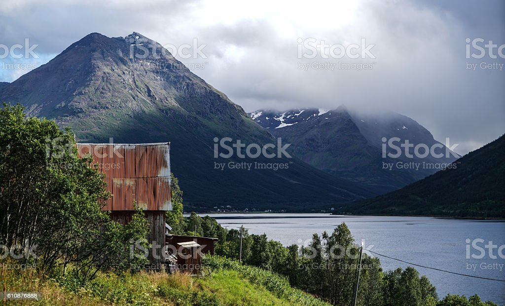 Boathouse in Balsfjord stock photo