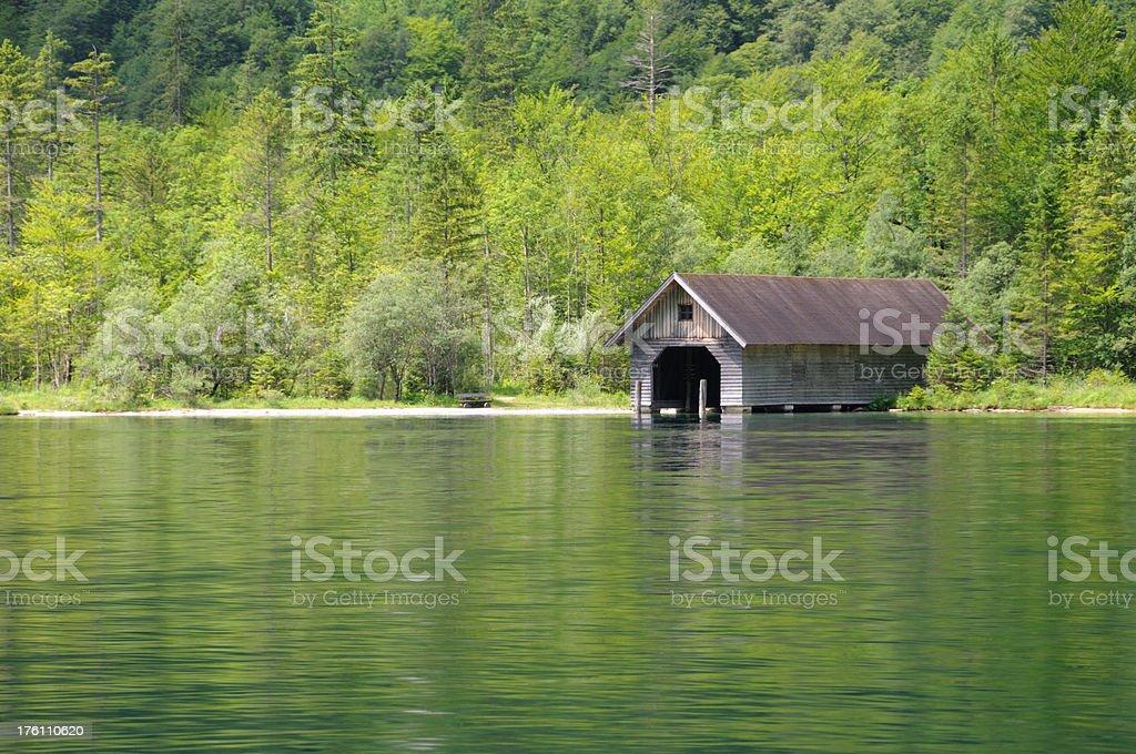 Boathouse, Konigsee, Bavaria royalty-free stock photo