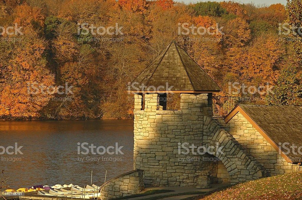 WPA Boathouse, Maquoketa River, Iowa royalty-free stock photo