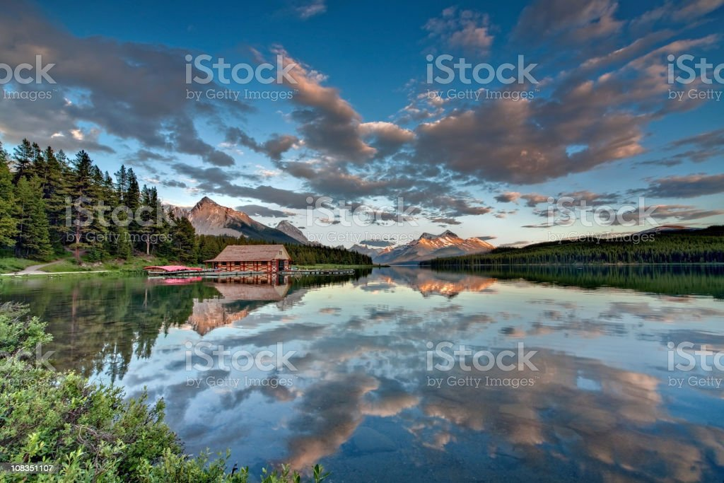 Boathouse on an alpine lake royalty-free stock photo