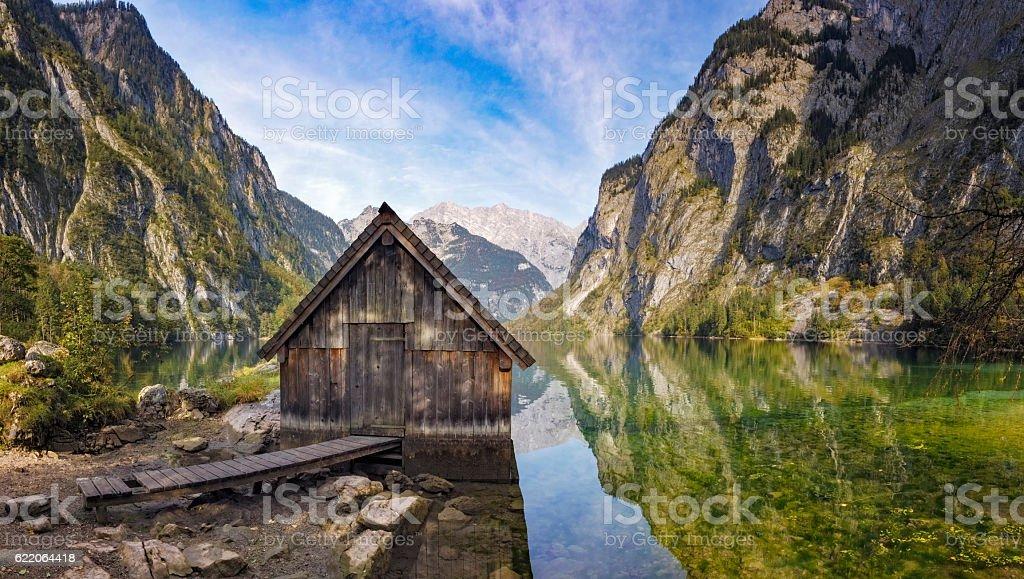 Boathouse on Obersee near Königssee in Nationalpark Berchtesgaden stock photo