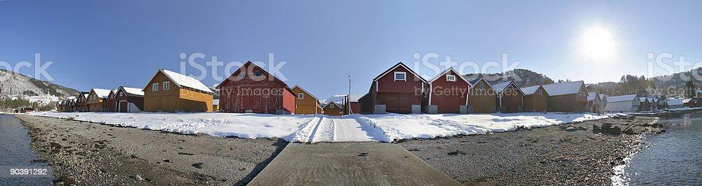 Boathouse panorama royalty-free stock photo
