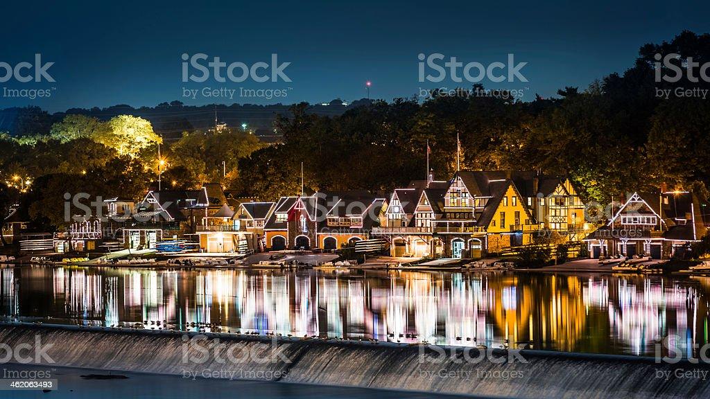 Boathouse Row in Philadelphia at night stock photo