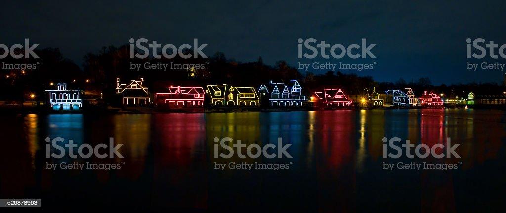 Boathouse Row - Philadelphia (Christmas Lights) stock photo