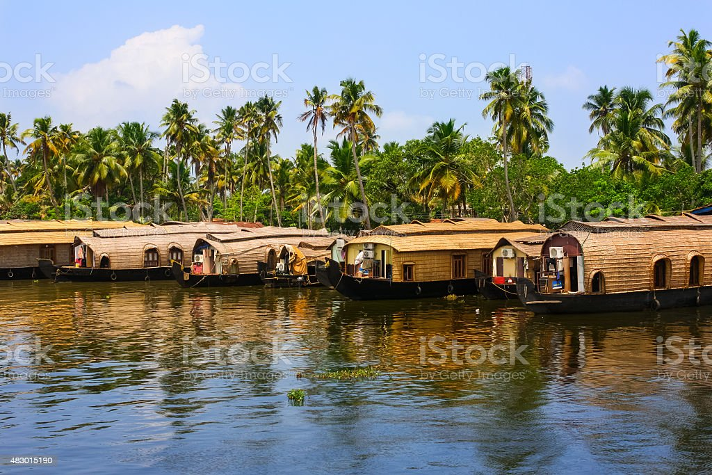 Boathouses at the Kerala Backwaters India stock photo