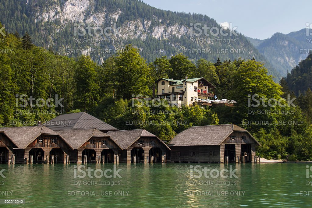 Boathouses at the Koenigssee lake close to Berchtesgaden, Germany, 2015 stock photo