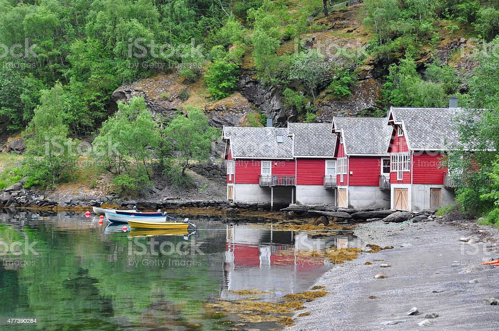 boathouses, Flam Norwegia zbiór zdjęć royalty-free