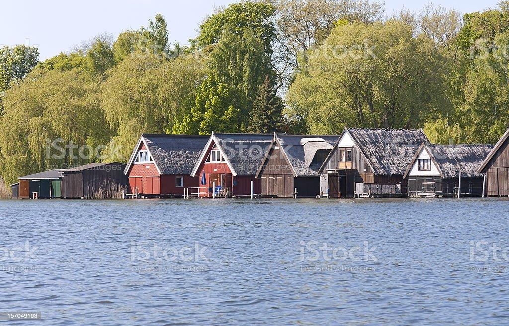 Boathouses on the Mueritz Lake stock photo