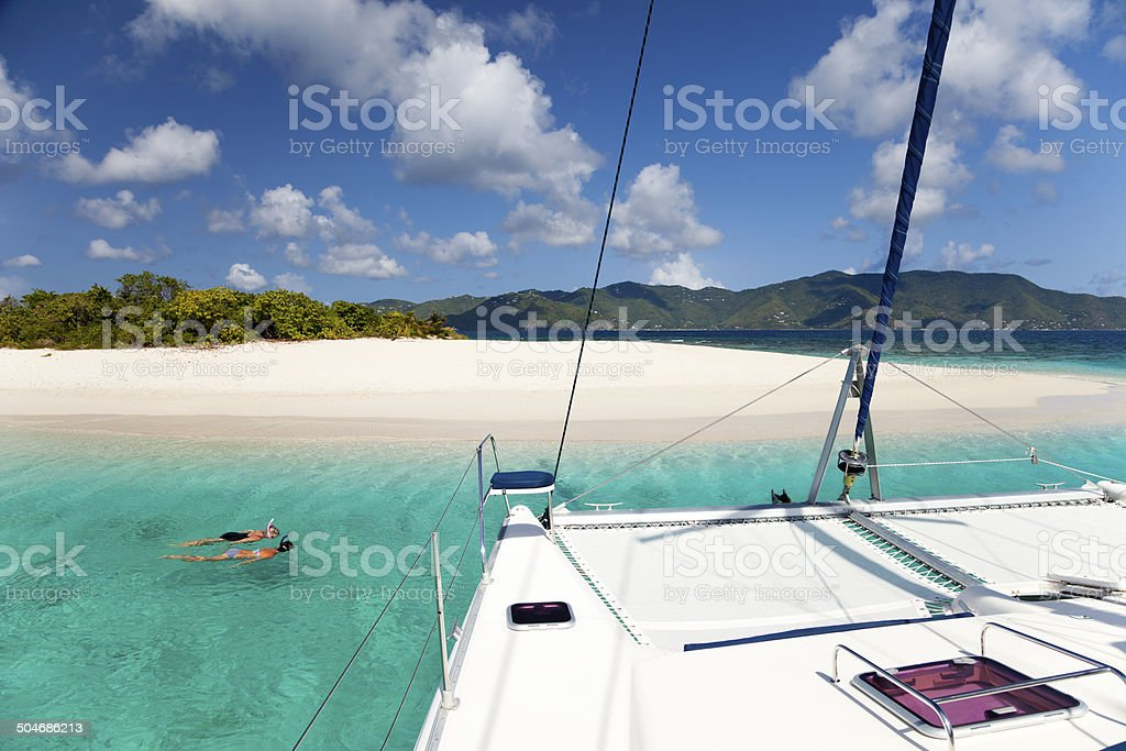 boating and snorkeling around Sandy Spit, British Virgin Islands stock photo