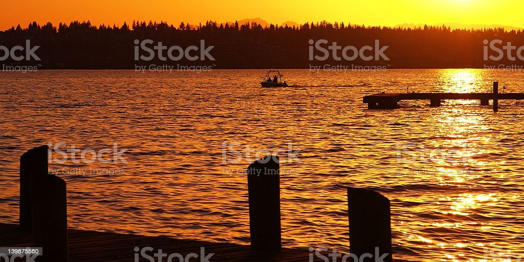 Boating at Sunset royalty-free stock photo