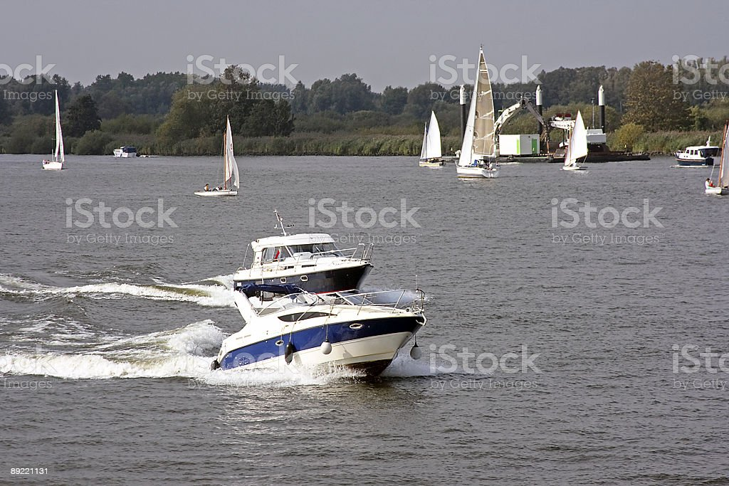 Boating in Holland stock photo