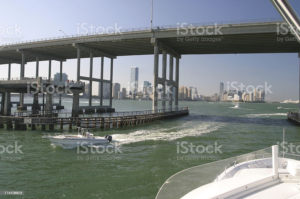 Boating in Miami stock photo