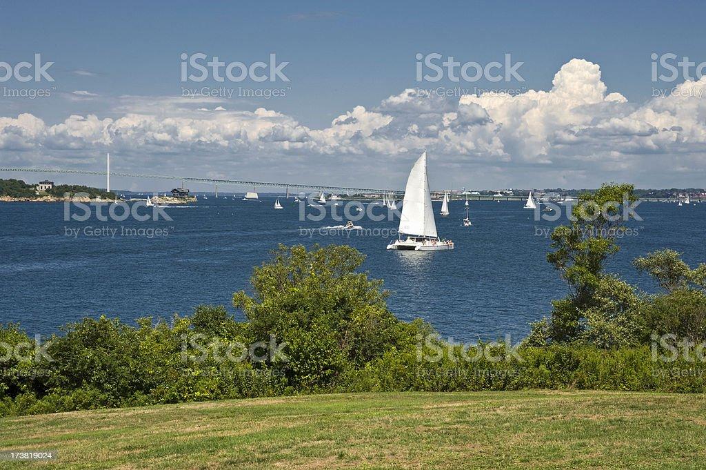 Boating in Newport Harbor stock photo