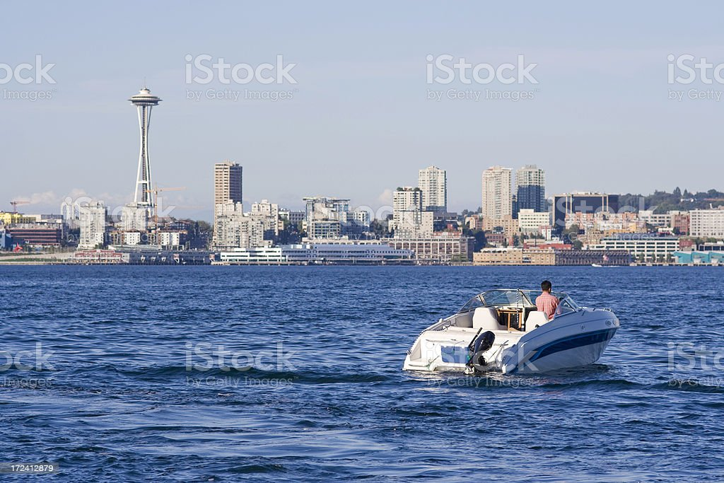 Boating in Seattle with Space Needle royalty-free stock photo