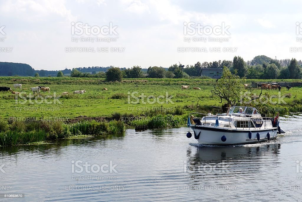 Boating In The Cambridgeshire Fens stock photo