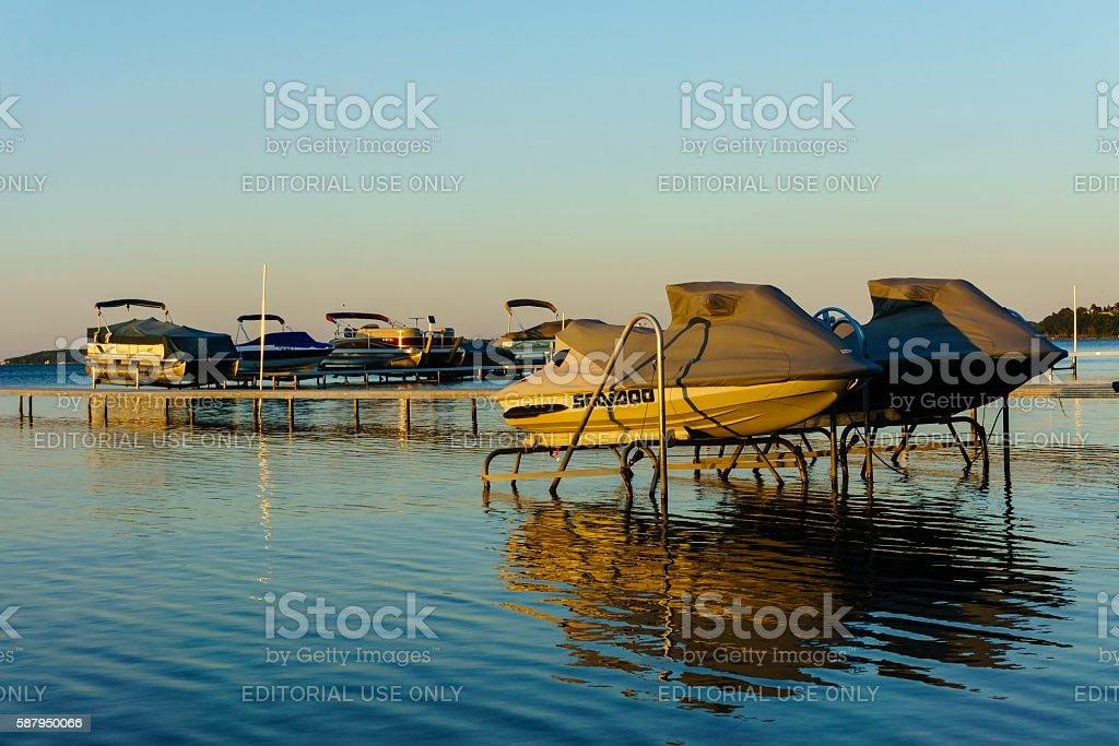 Boating in Traverse City, Michigan stock photo