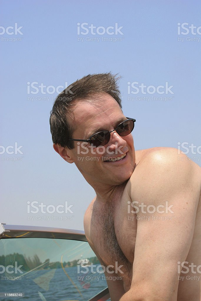 Boating on a lake royalty-free stock photo
