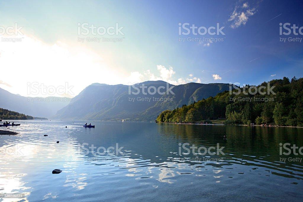Boating on Lake Bohinj stock photo