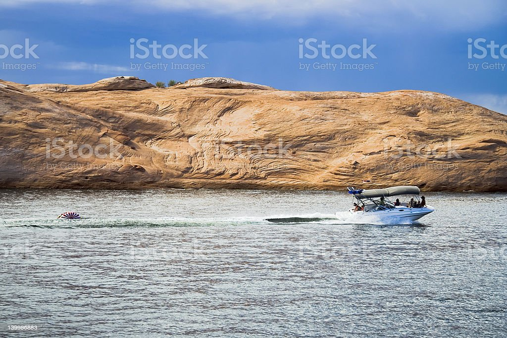 Boating on Lake Powell royalty-free stock photo