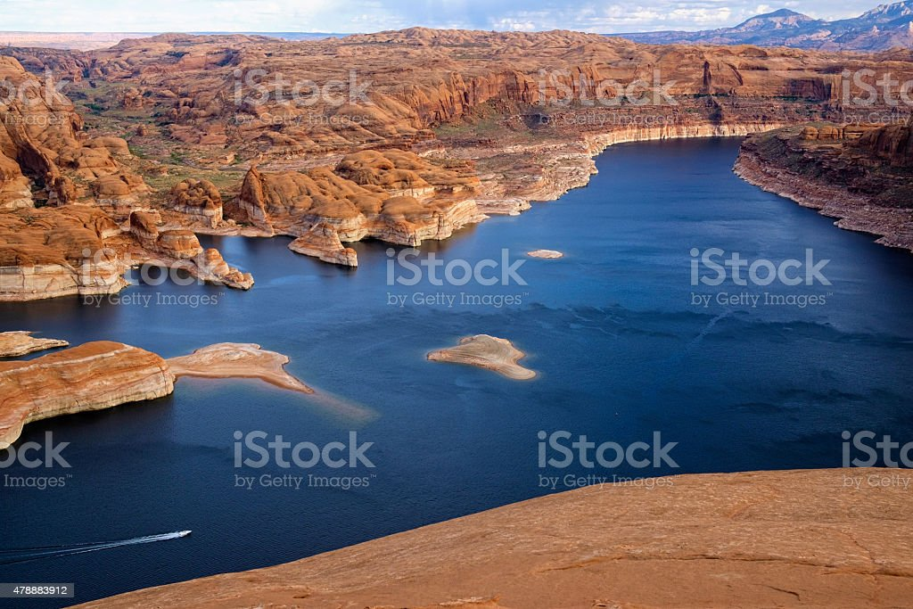 Boating on Lake Powell stock photo